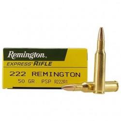 20 CARTOUCHES REMINGTON 222 REM 50GR PSP