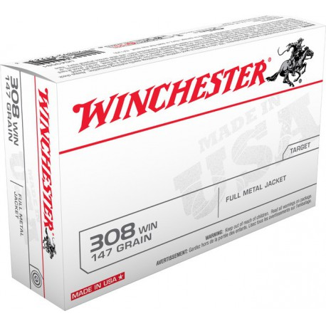 20 CARTOUCHES WINCHESTER 308 WIN 147GR FMJ