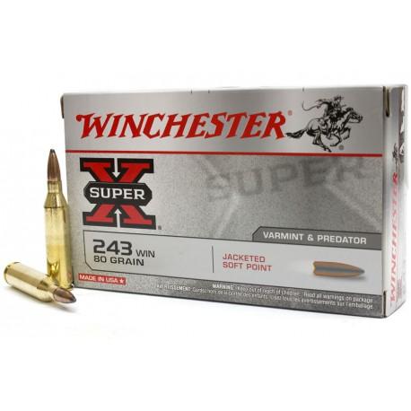 20 CARTOUCHES WINCHESTER 243 WIN 80GR JSP