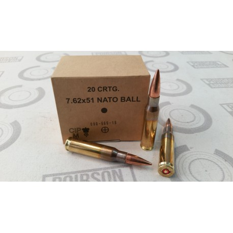 20 CARTOUCHES GGG 308 WIN (7.62x51) 147GR FMJ