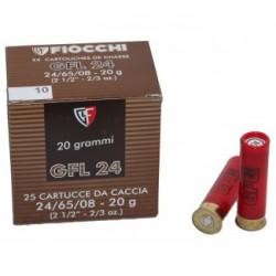 25 CARTOUCHES FIOCCHI GFL 24 CALIBRE 24/65